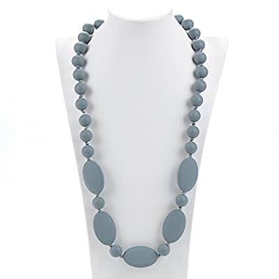 Consider It Maid Silicone Teething Necklace for Mom to Wear - Free E-Book - BPA Free - One Love (Grey) : Baby