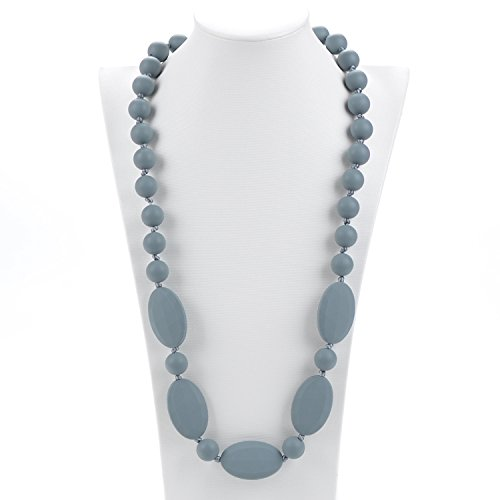 UPC 708131697273, Consider It Maid Silicone Teething Necklace for Mom to Wear - FREE E-BOOK - BPA FREE and FDA Approved - One Love (Grey)