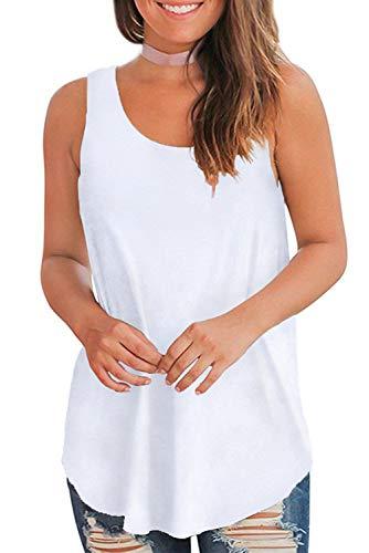 (WFTBDREAM Womens Sleeveless Tank Tops for Summer White M)
