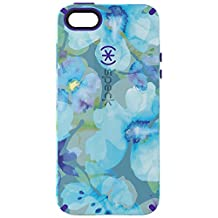 Speck Products CandyShell Inked Cell Phone Case for iPhone SE/5/5S-Retail Packaging-Aqua Floral Blue Pattern/Ultraviolet Purple