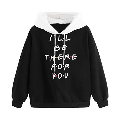 Sanyyanlsy Women's Autumn Winter Crop Hoodie Sweatshirt Long Sleeve Letter Print Cotton Pullover T-Shirt Jumper Tops Black