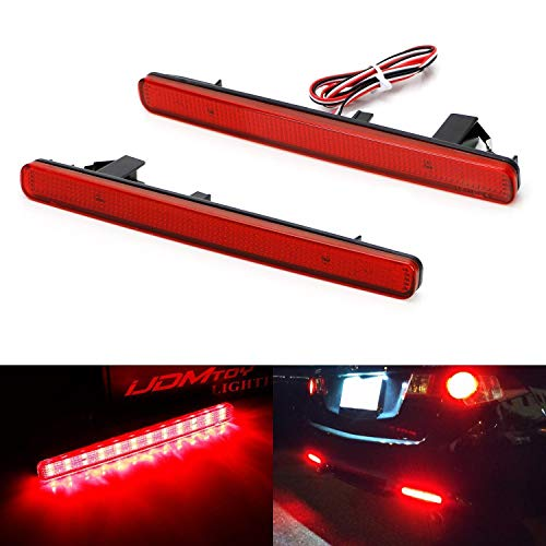 (iJDMTOY Red Lens 48-SMD LED Bumper Reflector Lights For 09-14 Acura TSX (Euro Accord) Function as Tail, Brake & Rear Fog)