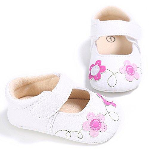ESTAMICO Baby Mädchen Weiche Sohle Blumen Lauflernschuhe Weiß