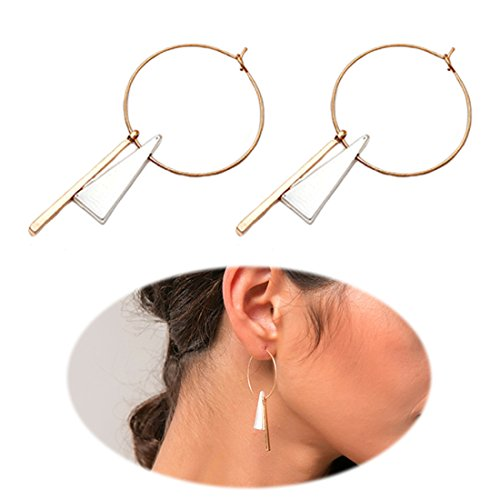 Chic Moon Simple Geometric Earrings Hoop Earbob Full Circle with Silver Triangle Long Golden Bar Pendant Jewelry