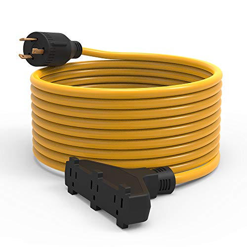 BougeRV 30Amp Generator Extension Cord 25 Feet 125Volt Generator Power 3750 Watts Extension Cord (Nema L5-30P to three 5-15R) For Champion Power Equipment 48034