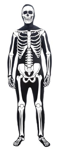 Forum Novelties Men's Skeleton Man Bone Skin Suit Adult Costume, Multicolor, Standard - Skeleton Costumes Spandex
