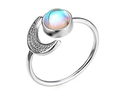 Exquisite 925 Sterling Silver Ring White Moonstone Sun and Moon Diamond Jewelry Birthday Christmas Gift Princess Love Band Rings Open Size Adjustable