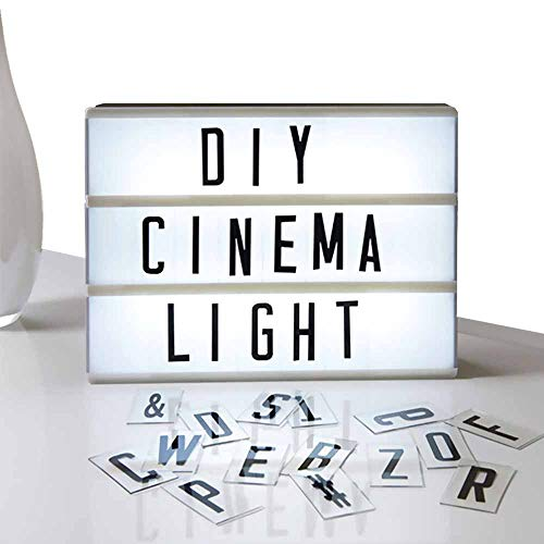 Eutuxia Cinematic Light Box with Letters - LED Light Box, Room Decor Sign, Marquee Light Up Sign - Personalized A4 White LED Letter Box with Light Up Letters