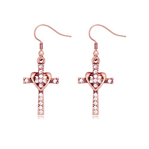SENFAI Fashion Heart with Crystal CrossPersonality Drop Earrings for Charm Women Girls (Antique Rose Gold)
