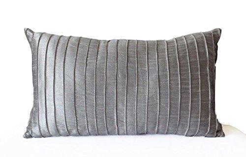 (Amore Beaute Handmade Grey Silk Pleated Textured Lumbar Pillow Cover -Gray Silk Decorative Pillowcase -Throw Pillow Cover -Gift -Housewarming -Hostess Host Gift (14x24 inches))