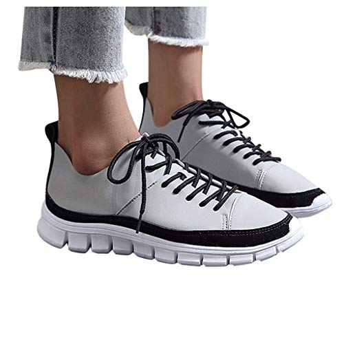Dasuy Women's Athletic Walking Shoe Leather Lace-Up Soft Bottom Runing Sneakers Lightweight Tennis Golf Shoes for Ladies