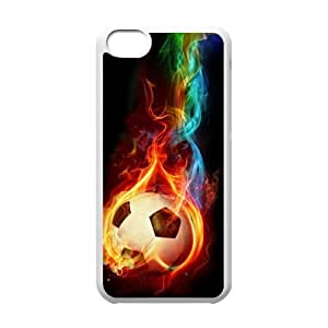 Custom Colorful Case for Iphone 5C, Fire Soccer Ball Cover Case - HL-R661175