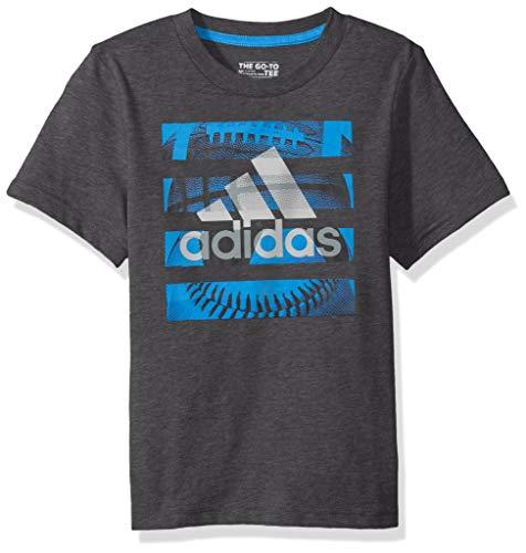 adidas Boys' Little Short Sleeve Graphic Tee Shirt, Hacked Dark Grey Heather 7