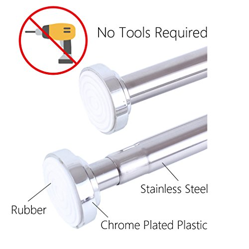 No Drill Stainless Steel Extendable Curtain Rod, Shower Curtain Rod, Tension Closet Rod, Hanging Rod (49.3