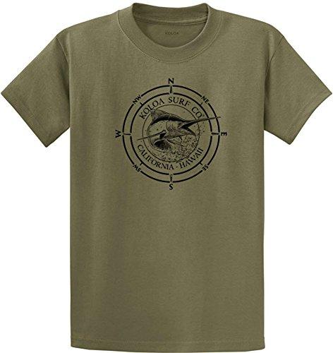 Koloa Surf Black Marlin Logo Heavyweight Cotton T-Shirt-Olive/b-XL
