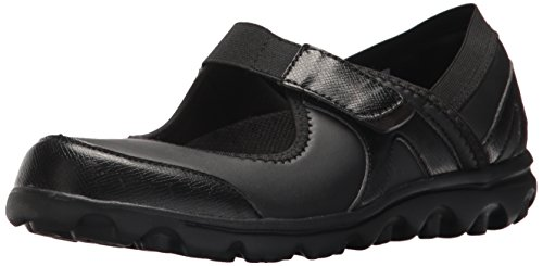 Propét Womens Onalee Mary Jane Flat All Black Smooth
