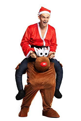 Christmas Piggyback Costumes Funny Carry Ride On Me Shoulder Reindeer Costumes Fancy Dress -