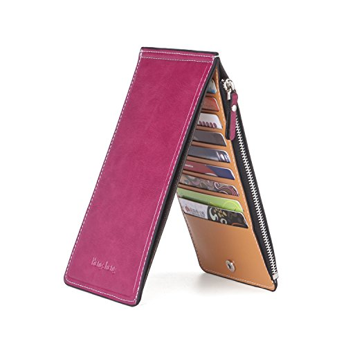 Noedy Womens Thin Multi Card Case Organizer Wallet with Zipper Pocket Rose Red