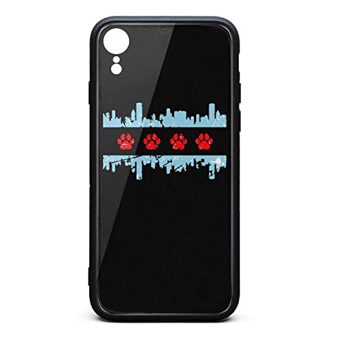 Bear Footprints Chicago Flag Illinois Phone Case for iPhone Xr, Slim Protection Art Line Design Cell Phone Protective Case