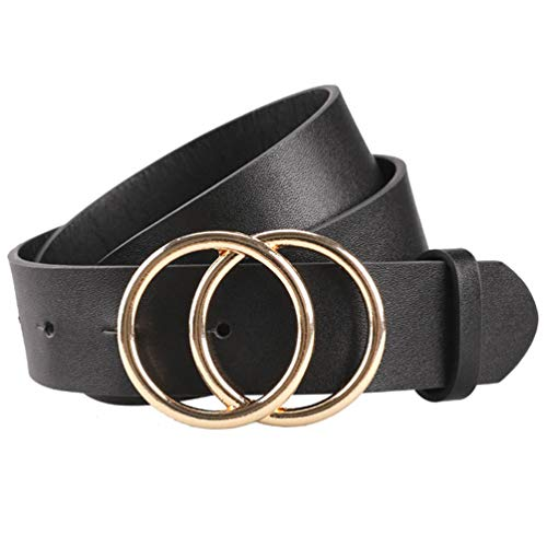 Trendy Gold O-Ring-Belt for Women Cintos Para Mujer Black Circle Vegan-Belt with Golden Buckle by Maylisacc