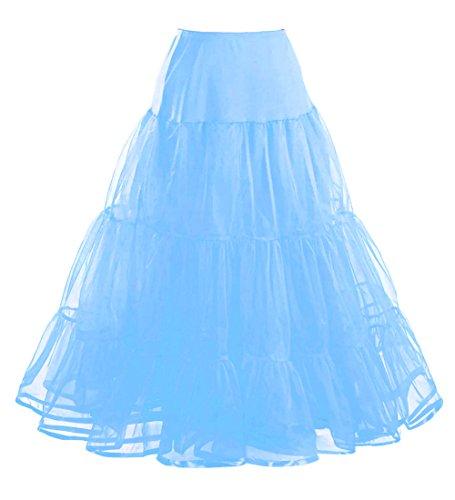 Comall Femme Jupon annes 50 vintage en tulle Rockabilly Petticoat longueur 100cm 3 tailles choisir Bleu Ciel