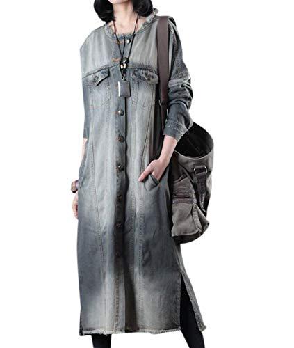 YESNO JDP Women Long Loose Button-Down Jacket Denim Coat 100% Cotton Distressed Side Slit Fringed Hem Pocket