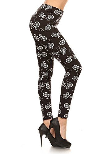 - R686-PLUS Bicycles and Hearts Print Fashion Leggings