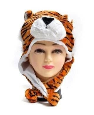 Tiger Winter Animal Hat in Plush Fleece with Pom Pom Ears