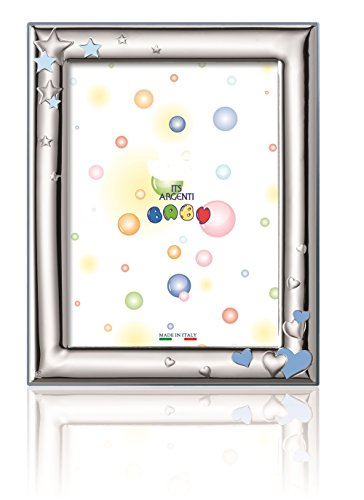 Silver Touch USA Sterling Silver Picture Frame, Hearts and Stars, Blue, 3.5
