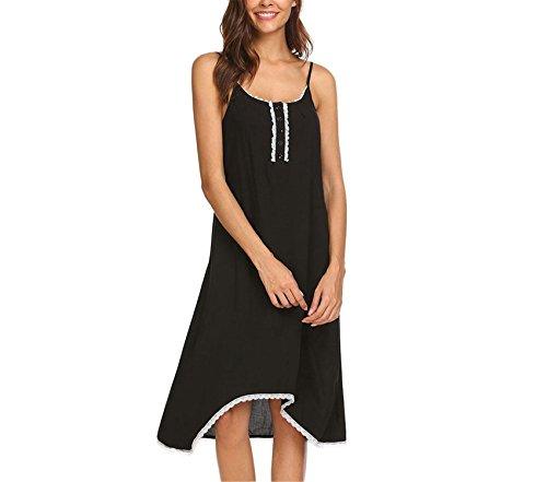 JIANGTAOLANG Women Sleepwear Adjustable Spaghetti Strap Lace Trim Sleepshirt Nightdress Black XXL ()