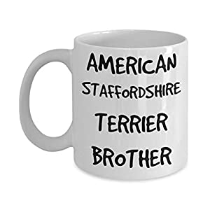 American Staffordshire Terrier Brother Mug - White 11oz 15oz Ceramic Tea Coffee Cup - Perfect For Travel And Gifts 26