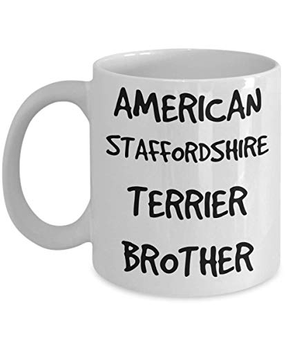 American Staffordshire Terrier Brother Mug - White 11oz 15oz Ceramic Tea Coffee Cup - Perfect For Travel And Gifts 1