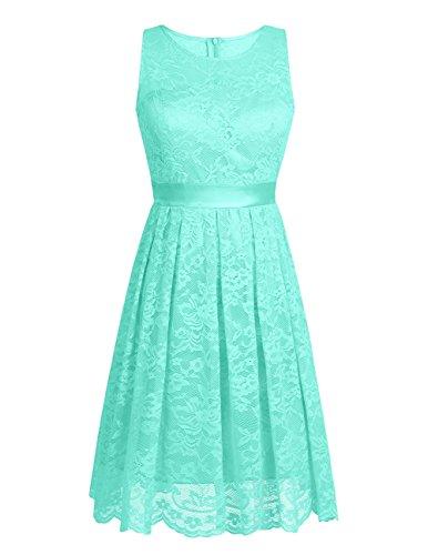 iiniim Women's Bridesmaid Short Dress Vintage Floral Lace Evening Cocktail Party Dresses Sheer Neckline Mint Green 12 by iiniim