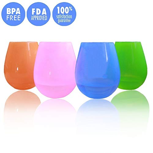 Kuke Set of 4 Unbreakable Silicone Wine Glasses,Food Grade Flexible Stemless Drinking Cups 9 Ounce
