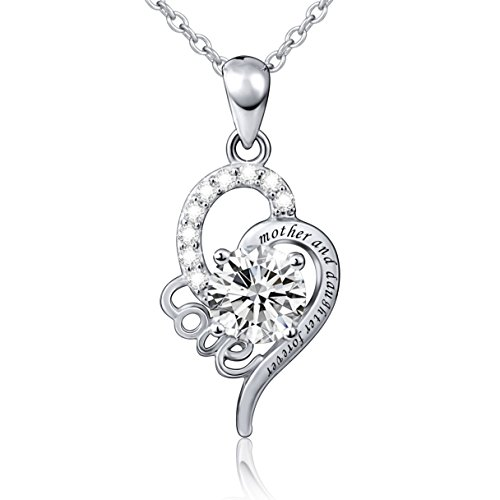 [Mother's Day Gift Sterling Silver Mother and Daughter Forever Love Heart Necklace, 18