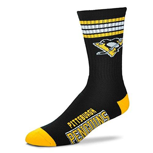 (For Bare Feet NHL 4 Stripe Deuce Crew Socks Mens-Pittsburgh Penguins-Size Large(10-13))