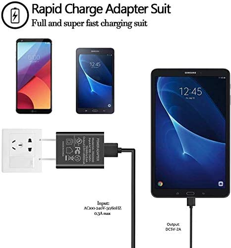 """Kindle Fire Fast Charger [UL Listed] Fotbor AC Adapter 2A Rapid Charger with 6.6Ft Micro-USB Cable for Amazon Kindle Fire 7 HD 8 10 Tablet, Kids Edition,Kindle Fire HD HDX 7"""" 8.9"""", Fire Phone (Black)"""