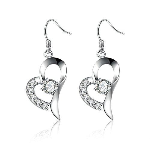 Flat Open Heart Earring (Gnzoe Silver Plated Women Hoop Earrings Silver Cubic Zirconia Open Love)
