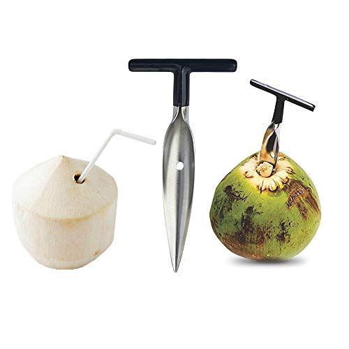RUITASA Coconut Opener for Fresh Green Young Coconut Water - Works With Peeled Thai Young White Coconuts -Easy & Comfortable Grip- Open in Seconds Super Safe Easy and Fast (Open Coconut White)