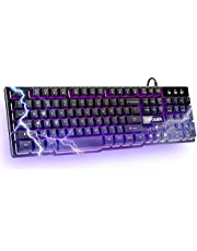 DBPOWER gaming office 2-in-1 keyboard with 3-color LED backlighting, ergonomic waterproof mechanical feel full-size 104-key gaming keyboard, office equipment for PC laptops computer