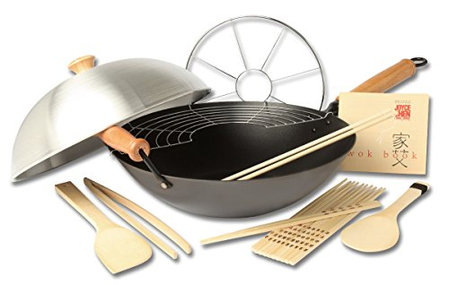 Non Stick Wok Set - Joyce Chen 22-9938, Pro Chef 14 Inch 10 Piece Excalibur Non-Stick Wok Set