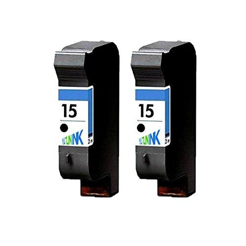 15 Compatible Remanufactured Inkjet Cartridge (YATUNINK 2 Pack Remanufactured #15 Black Ink Cartridges Compatible with DeskJet 3820 DeskJet 920C DeskJet 940C OfficeJet 5110 OfficeJet V40 PSC 750 PSC 950)