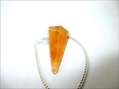 Jet Citrine Cone Shaped Pendulum Faceted Top Quality A++ Jet International Crystal Therapy Booklet Gemstone Image is JUST A Reference ()