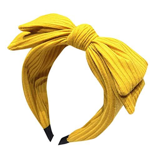 Boho Headbands for Women Solid Bow Headband Creative Headwear Accessories Headband Yellow from CCOOfhhc