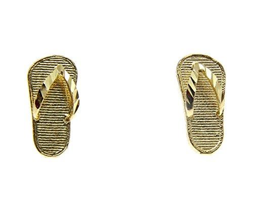 14k Slipper (14K solid yellow gold Hawaiian slipper flip flop thong diamond cut stud earrings)