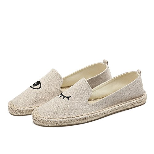 Green Linen Comfort Spring HUAN for amp; Beige Casual Black C ONS Slip Plaid Loafers Shoes Fall Woman's XqggEO