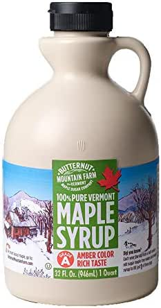 Butternut Mountain Farm, 100% Pure Maple Syrup From Vermont, Grade A, Amber Color, Rich Taste, All Natural, Easy Pour Jug, 32 Fl Oz, 1 Qt