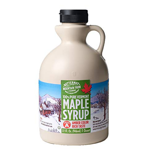 Hidden Lake Log - Butternut Mountain Farm, 100% Pure Maple Syrup From Vermont, Grade A, Amber Color, Rich Taste, All Natural, Easy Pour Jug, 32 Fl Oz, 1 Qt