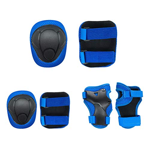 Uspacific 6 Kit Kids Knee Pads Elbow Pads Breathable and Lightweight Materials for Hiking Camping,Ball Games, Cycling,Snow Sports, Extreme Challenges, Dance (Blue)