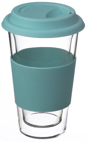 GROSCHE Glassen BLUE hand made double walled glass insulated travel coffee mug, 350 ml (11.8 fl oz)